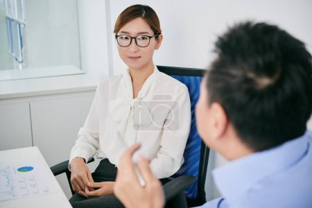 Business lady conducting interview