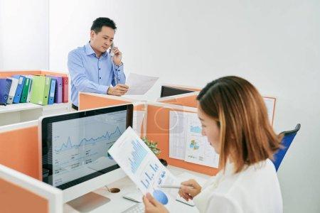 Entrepreneur reading business document
