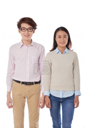 asian man and woman standing in casual cloth in studio