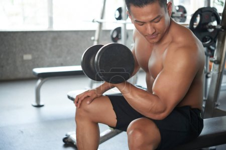 Photo for Asian strong man doing exercise with heavy dumbbell - Royalty Free Image