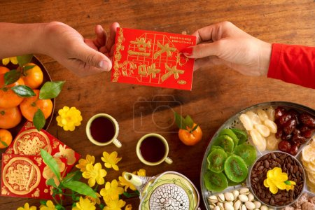 People exchanging greeting cards when celebrating Tet, best wishes inscription on cards