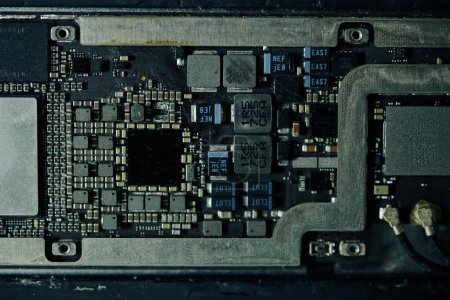 Photo for Details of digital tablet motherboard, view from above - Royalty Free Image