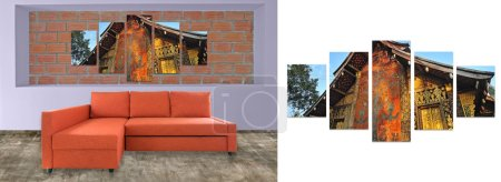 Sofa furniture and photo collage on brick wall. Hi resolution ph