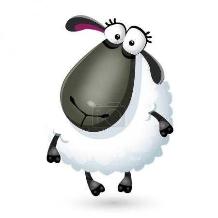 Illustration for Vector illustration of funny cartoon sheep character on white ba - Royalty Free Image