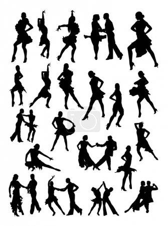 Illustration pour Danseuse de salsa détail silhouette. Vecteur, illustration. Bon usage pour le symbole, logo, icône web, mascotte, signe, ou tout autre design que vous voulez . - image libre de droit