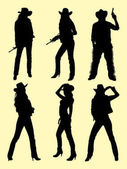 Cowboy and cowgirl gesture silhouette 01 Good use for symbol logo web icon mascot sign or any design you want