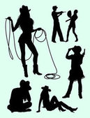 Cowboy and cowgirl gesture silhouette 02 Good use for symbol logo web icon mascot sign or any design you want