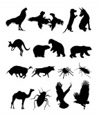 Set animal silhouette 01 Vector illustration Good use for symbol logo web icon mascot sign or any design you want