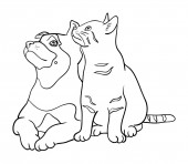 Cat and dog line art 04 Vector illustration Good use for symbol logo web icon mascot sign coloring or any design you want