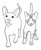 Cat and dog line art 02 Vector illustration Good use for symbol logo web icon mascot sign coloring or any design you want