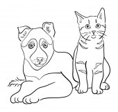 Cat and dog line art 03 Vector illustration Good use for symbol logo web icon mascot sign coloring or any design you want