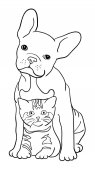 Cat and dog line art 06 Vector illustration Good use for symbol logo web icon mascot sign coloring or any design you want