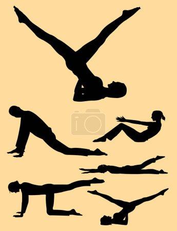 Illustration pour Silhouette geste pilates 02. Bon usage pour le symbole, logo, icône web, mascotte, signe, ou tout autre design que vous voulez . - image libre de droit