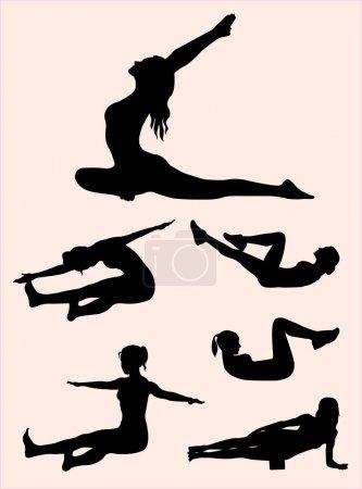 Illustration pour Silhouette geste Pilates 01. Bon usage pour le symbole, logo, icône web, mascotte, signe, ou tout autre design que vous voulez . - image libre de droit