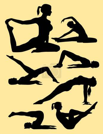 Illustration pour Silhouette geste Pilates 03. Bon usage pour le symbole, logo, icône web, mascotte, signe, ou tout autre design que vous voulez . - image libre de droit