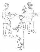 Chef line art 02 Good use for symbol logo web icon mascot coloring sign or any design you want