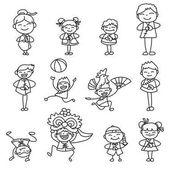 Set of cartoon characters people