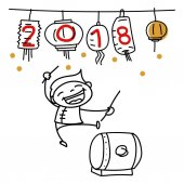 Hand drawing cartoon character people Happy Chinese New Year 201