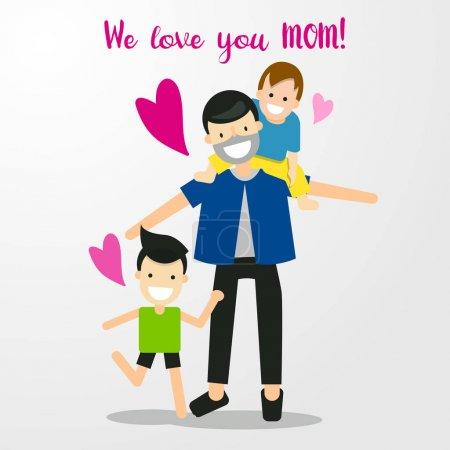 Illustration pour Personnage de bande dessinée heureuse famille amour maman. Joyeuse fête des mères. Papa et fils disent aimer maman. Personnes abstraites Illustration vectorielle . - image libre de droit