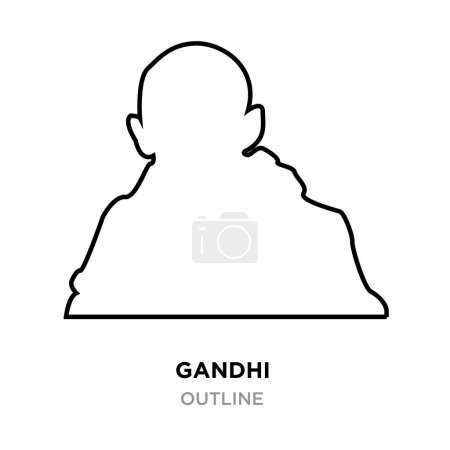 gandhi outline images on white