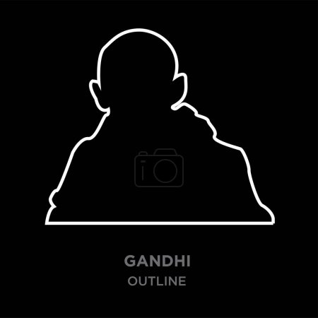 white border gandhi outline images