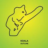koala outline on green backgroundclimbing up a tree