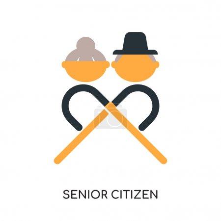 Illustration pour Logo de la personne âgée isolé sur fond blanc pour la conception de votre web et application mobile, icône vectorielle colorée, signe plat et symbole - image libre de droit