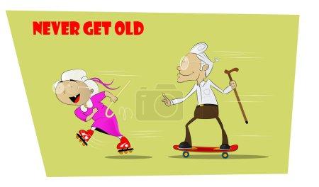 Illustration pour Des seniors amusants et fous. Elle roule sur des patins à roulettes, et grand-père va après elle sur le skateboard. Concept aînés résilients. Jamais vieillissant et toujours jeune. Illustration vectorielle comique . - image libre de droit