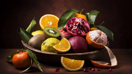 Photo for Still life with vintage wooden plate full of citrus fruits and fresh mixed fruit - Royalty Free Image