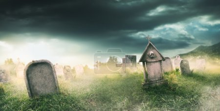 gravestone with fog and  lighting