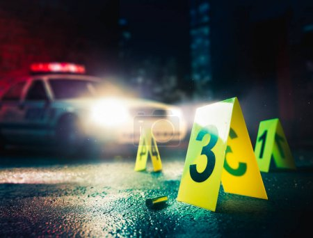 Photo for Police car at a crime scene with evidence markers, high contrast image - Royalty Free Image