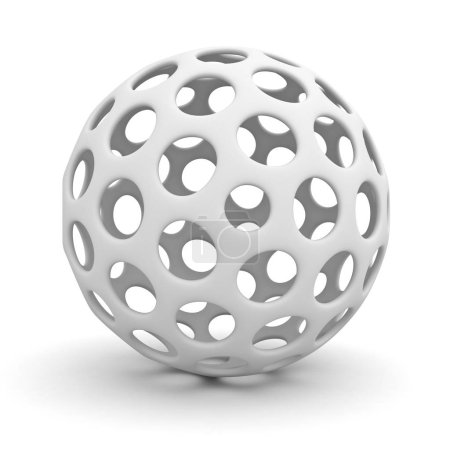 White hollow sphere isolated over white background with shadow