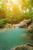 Level 1 of Erawan Waterfall in Kanchanaburi, Thailand