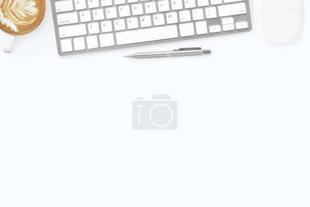 Photo for White minimal office desk table with computer keyboard, mouse, latte coffee and pen. Top view with copy space, flat lay. - Royalty Free Image