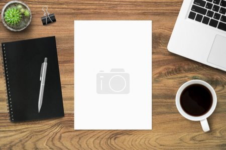 Photo for Wood office desk table top view - Royalty Free Image