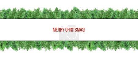 Photo pour Bannière de Noël aquarelle avec branches de sapin et place pour le texte. Illustration pour bannière, cartes de vœux et invitations isolées sur fond blanc . - image libre de droit