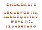 Festive chocolate font Funny letters and numbers can be used for birthday card Valentines day baby shower sweets shop girls magazine Isolated