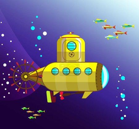 bathyscaphe jaune sous l'eau