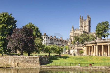 Bath Abbey and River Avon Somerset UK