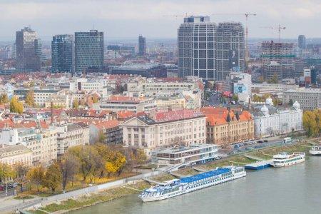 Bratislava, Slovakia - November 18, 2019: View from SNP bridge to the Bratislava Old Town