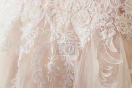 close-up photo of beautiful Wedding dress
