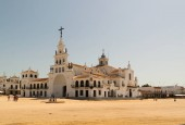 The Hermitage of El Rocio. The Church is home to the Virgin of El Rocio in the countryside of Almonte, Province of Huelva, Andalusia, Spain