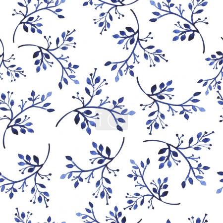 vector illustration design of beautiful blue branches seamless pattern background