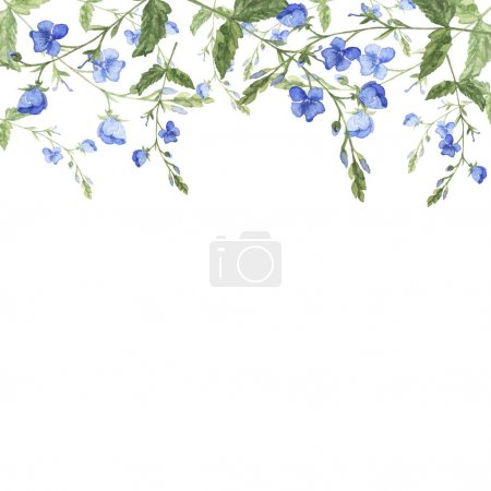 beautiful watercolor painting of blue flowers pattern background