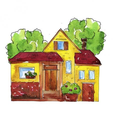 beautiful watercolor painting of house with trees pattern