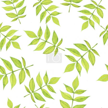 Photo for Beautiful illustration of spring green leaves seamless pattern background - Royalty Free Image