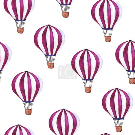 watercolor painting of stripped balloons seamless pattern background