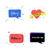 Set of Follow me quotes Vector illustration