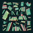 Books set. Reading concept. Square poster with dif...