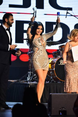 Singer Haifa Wehbe on stage during the Big Apple Music Awards
